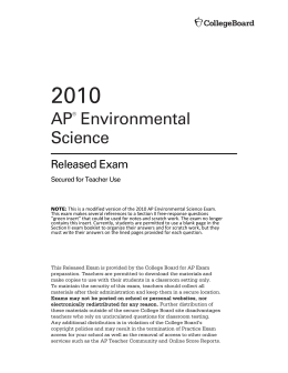 AP Environmental Science Released Exam, 2010