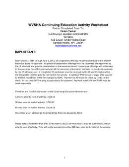 WVSHA Continuing Education Activity Worksheet