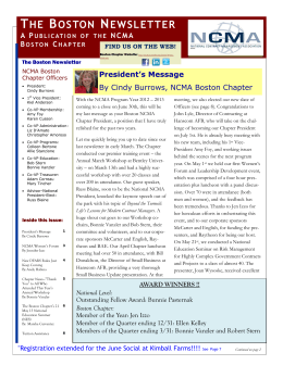 NCMA Spring Newsletter 2013 - National Contract Management