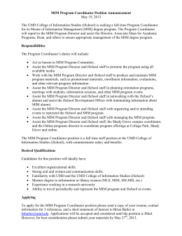 MIM Program Coordinator Position Announcement May 19, 2013