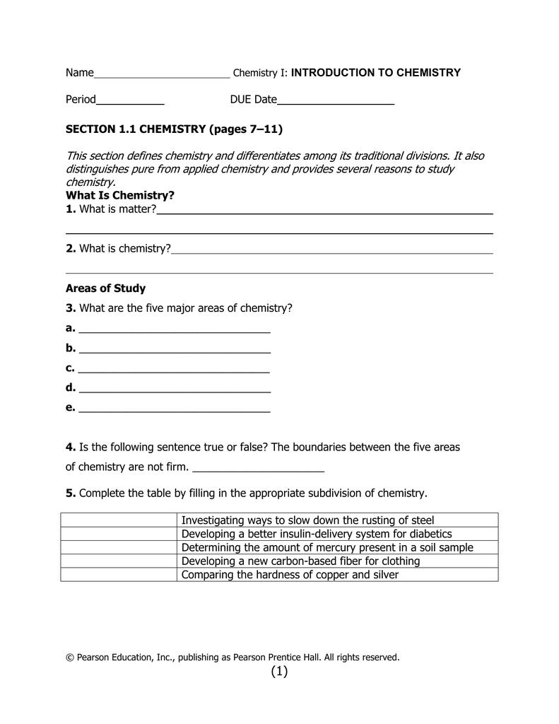 Chemistry worksheet matter 1 answer key