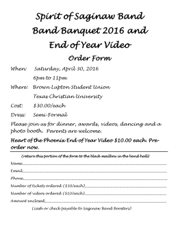 Band Banquet Order Form - Spirit of Saginaw Band