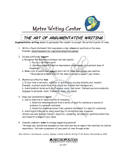 THE ART OF ARGUMENTATIVE WRITING