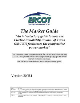 The Market Guide: A Guide to How the Electric Reliability Council of