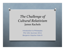 """The Challenge of Cultural Relativism"" James Rachels"