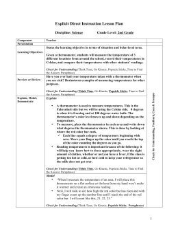 Explicit Direct Instruction Lesson Plan