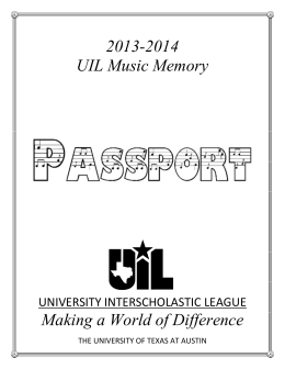 2013-2014 UIL Music Memory - University Interscholastic League
