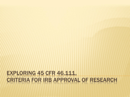 Exploring 45 CFR 46.111, Criteria for IRB Approval of Research