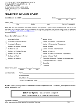 Duplicate Diploma Form - St. Cloud State University