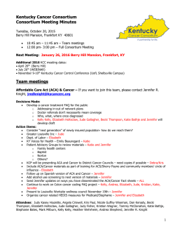 October 20, 2015 - Kentucky Cancer Consortium