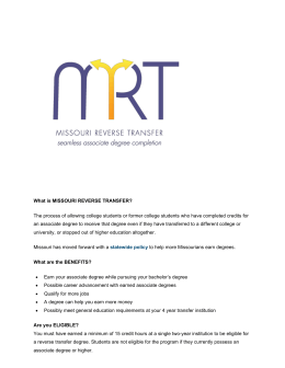 Missouri Reverse Transfer - North Central Missouri College