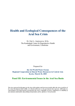 Health and Ecological Consequences of the Aral Sea Crisis