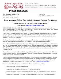 Dept on Aging Offers Tips to Help Seniors Prepare For Winter