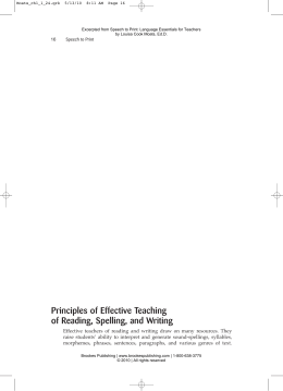 Principles of Effective Teaching of Reading, Spelling, and Writing