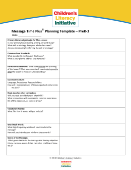 Message Time Plus Planning Template – PreK-3