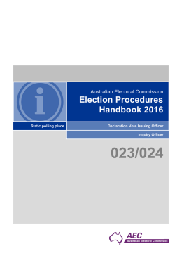 Election Procedures Handbook 2016: Static polling place