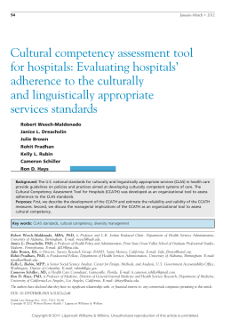 Cultural competency assessment tool for hospitals