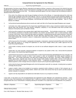 Computer/Internet Use Agreement for Sex Offenders