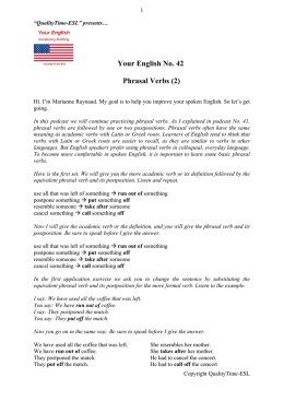 Your English 42 Phrasal Verbs 2 - QualityTime-ESL