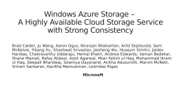 Windows Azure Storage – A Highly Available Cloud Storage Service