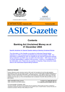 Conmmonwealth of Australia ASIC Gazette A34A/05 dated 1