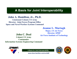 A Basis for Joint Interoperability A Basis for Joint