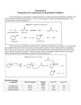 an overview of the oxidation of cyclohexanol to cyclohexanone A cyclohexanol-induced cyclohexanone oxygenase (specific activity 055μmol of nadph oxidized/min per mg of protein) catalysed the consumption of 1mol of nadph and 1mol of o 2 in the presence of 1mol of cyclohexanone nadph oxidation did not occur under anaerobic conditions.