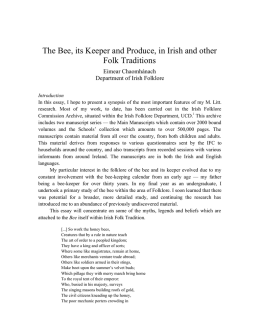 The Bee, its Keeper and Produce, in Irish and other Folk Traditions