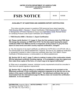 FSIS Notice 65-06 - Availability of Questions and Answers