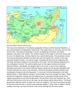 Physical Map of Russia and Eurasia This map shows elements of