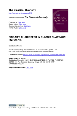 The Classical Quarterly PINDAR`S CHARIOTEER IN PLATO`S