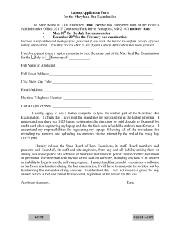 Laptop Application Form for the Maryland Bar