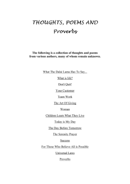 THOUGHTS, POEMS AND Proverbs