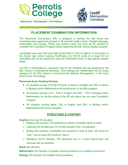 PLACEMENT EXAMINATION INFORMATION