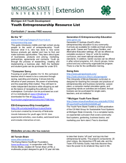 Youth Entrepreneurship Resource List - MSU Extension
