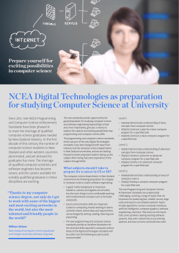 NCEA Digital Technologies as preparation for studying Computer
