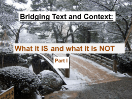 Bridging Text and Context: What it IS and what it is NOT
