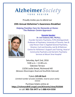 19th Annual Alzheimer`s Awareness Breakfast Helping Families