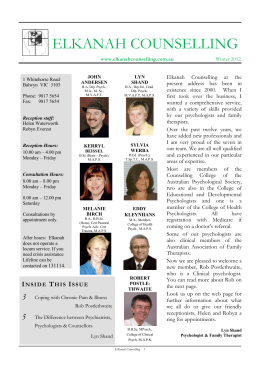 Elkanah Newsletter Winter 2012