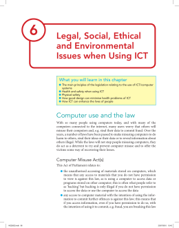 06 Legal, Social, Ethical And Environmental Issues When Using ICT