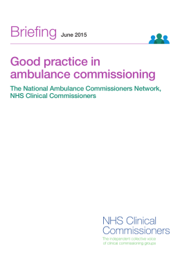 Good Practice in Ambulance Commissioning
