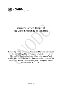 Country Review Report of the United Republic of Tanzania