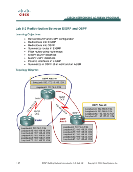Lab 5-2 Redistribution Between EIGRP and OSPF