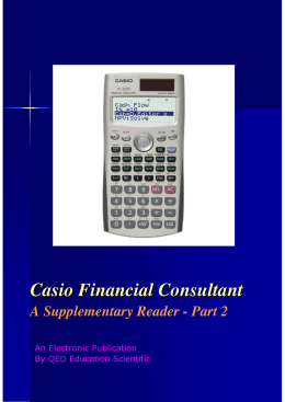 CASIO Financial Consultant: A Supplementary Reader