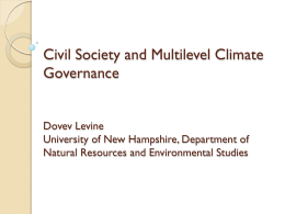 Civil Society and Multilevel Climate Governance Dovev Levine