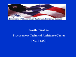 North Carolina Procurement Technical Assistance Center (NC PTAC)