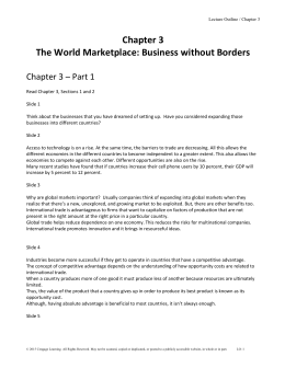 Chapter 3 The World Marketplace: Business without Borders