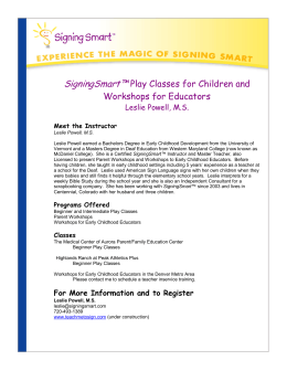 SigningSmart™ Play Classes for Children and Workshops for