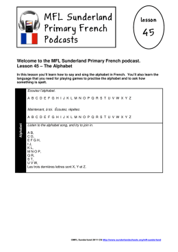 MFL Sunderland Primary French Podcasts 45