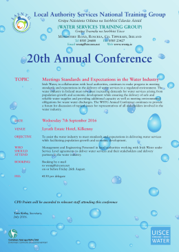 Water Services Conference 2016 Brochure